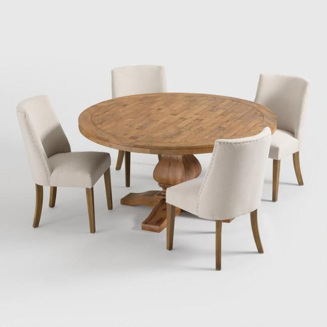 Round Gray Pine Wood Lisette Dining Table With Images Dining