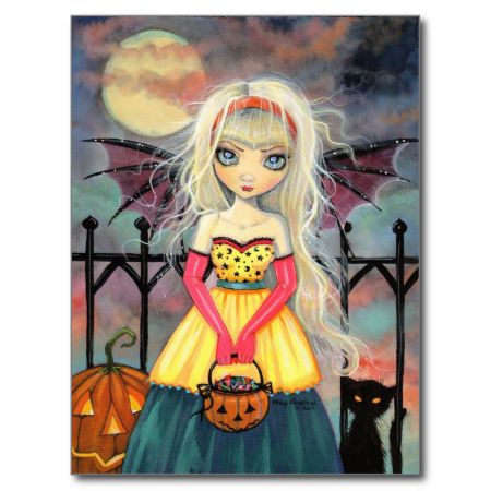 Trick or Treat Cute Halloween Vampire and Cat Post Cards