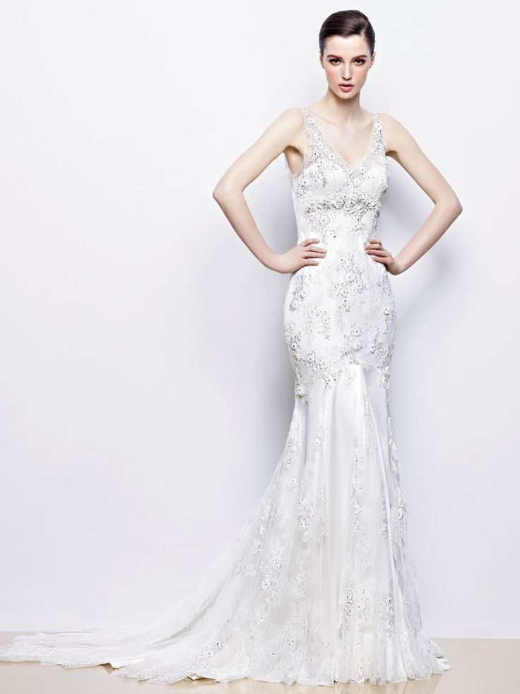Sheath Wedding Dress : Enzoani Indigo Front View  2014 collection wedding dress available at the Harro