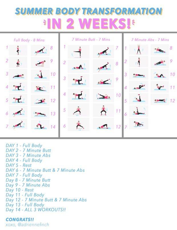 2 Week Summer Workout Printable Transformation Body Summer Body Transformation Summer Workout