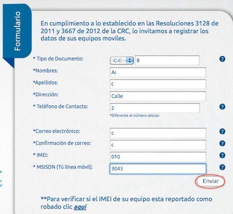 registrar imei etb 1