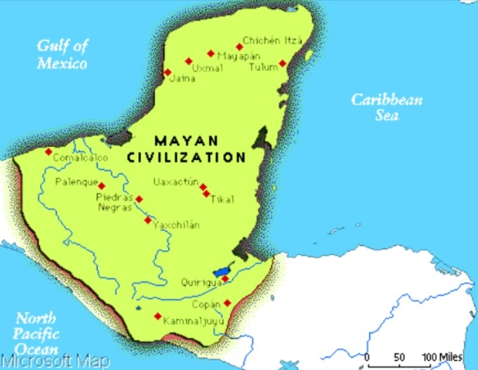 Map Showing Location Mayan Incan And Aztec Lands