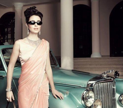 Indian fashion. pink/peach sari saree.