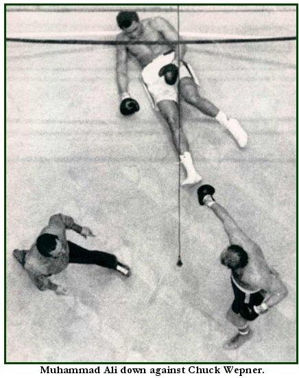 Chuck Wepner knocks down Muhammad Ali