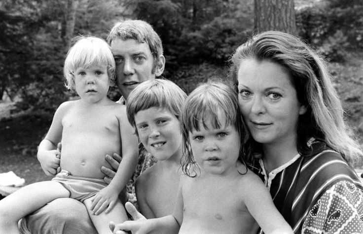 Donald Sutherland with his wife, Shirley Douglas, and their children (l-r): Kiefer Sutherland, Tom Douglas (Shirley's son from her first marriage), Rachel Sutherland, in California, 1970. Photo by Co Rentmeester.