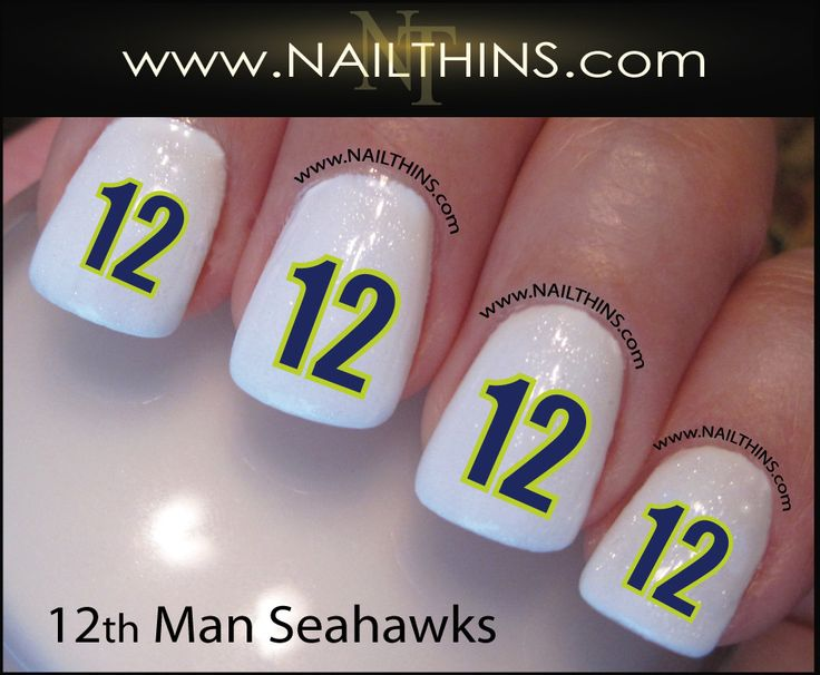 Seahawks 12 Man NAILTHINS NFL Football nail designs