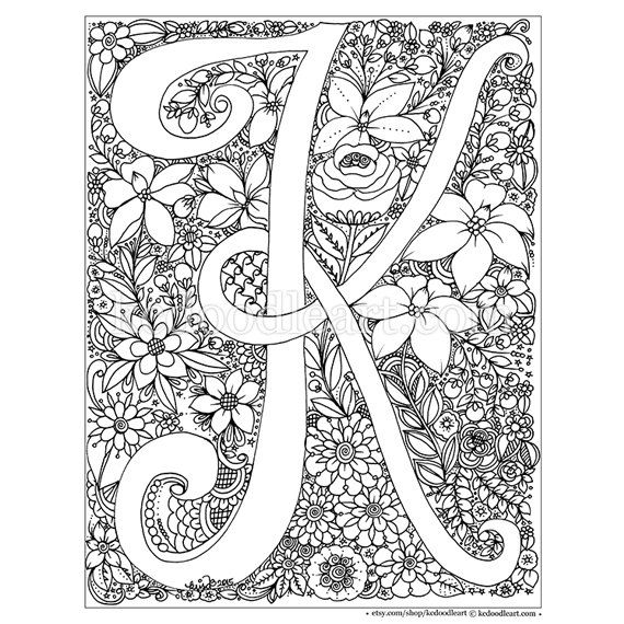 Instant digital download adult coloring page letter k Electronic coloring book for adults
