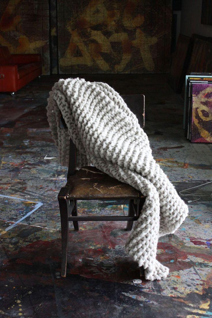 This is gorgeous - it's on my wishlist. Big Bulky 100% Handknit Wool Blanket, via Etsy.