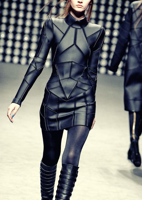 Black leather and Shapes reflects a futuristic look, Searched futuristic look on pinterest, October 15 2013, 15.00pm
