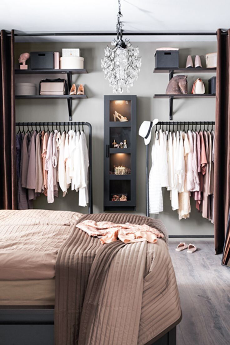 Bedroom open shelving and closet