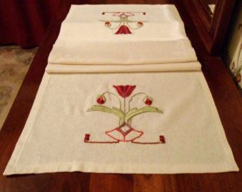 Arts and Crafts Mission Style, Craftsman Home Decor, Hand Embroidery,  Poppy Table Runner