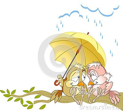 The illustration shows a couple in love birds sitting on a branch under a yellow umbrella. Illustration done as a funny card, in cartoon style, on separate layers.