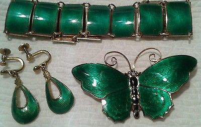 VINTAGE-DAVID-ANDERSEN-925-S-STERLING-GREEN-ENAMEL-LOT-BUTTERFLY-PIN-BRACELET