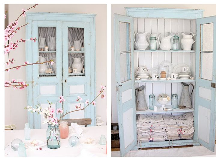 http://www.jodiebyrne.com/images/Rustic-Pale-Blue-Antique-Dresser-from-Dreamy-Whites: Farms Houses, Dreams Houses, Antiques Cupboards, French Country Style, Farmhouse Style, Country Kitchens, Blue Cupboards, Antiques Dressers, Pastel Furniture