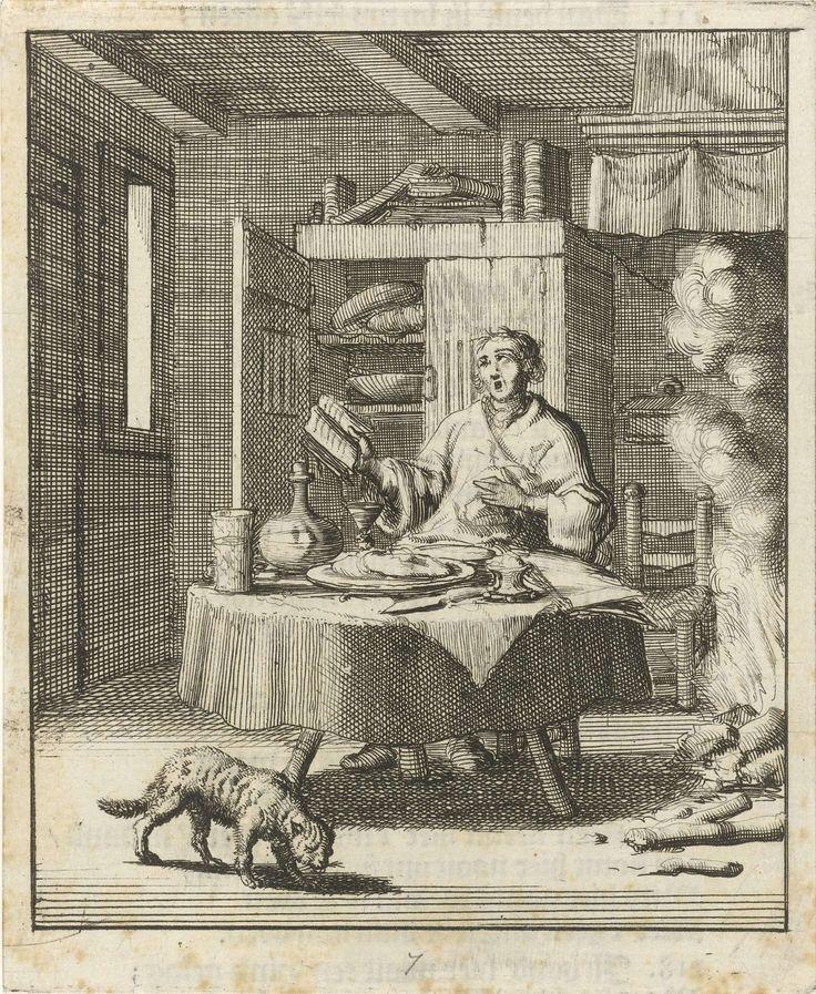 Jan Luyken | Schrijver Willem Sluiter zit aan tafel en zingt na de maaltijd uit een psalmboek, Jan Luyken, Gerbrandt Schagen, 1687 |