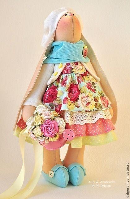 Animales de juguete, hecho a mano.  Conejito Nicole.  Jigoro Natalia.  Masters Feria.  Conejita para comprar un conejo, rosa y azul