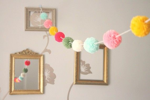 pom pom garland (spring colors)