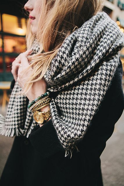 eat sleep wear - Zara houndstooth scarf