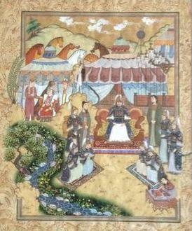 Чингисхан,его полководцы Джебе и Субудай, советник Елу Чу Цай,жена, дети и слуги,