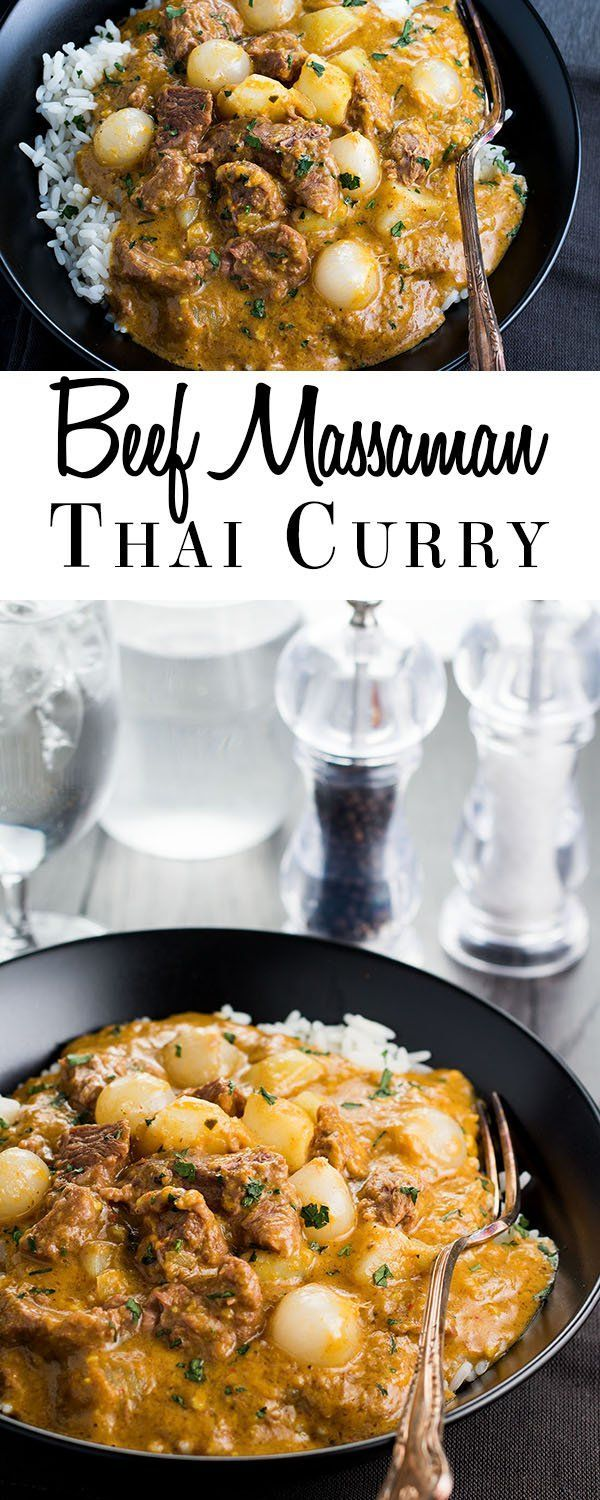This recipe for Beef Mussaman Thai Curry is sure to get your taste buds going with it's fragrant, savory and authentic flavors. via @Erren's Kitchen