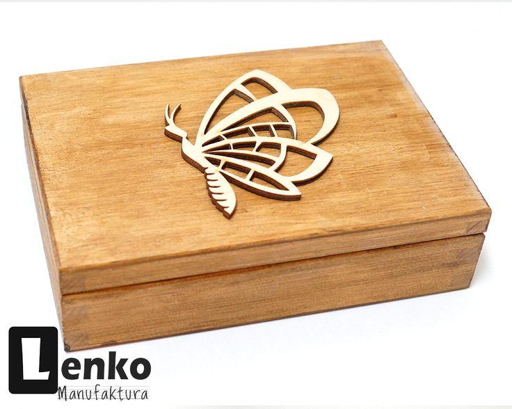 Pudełko z drewna na drobiazgi kredki dla dzieci motyl Lenko Manufaktura