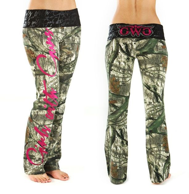 Script Lounge Pants in Mossy Oak Treestand from Girls With Guns. Available with Pink or Orange accents.