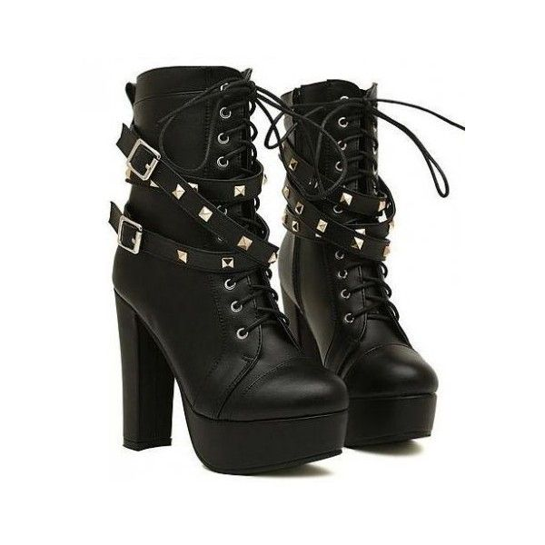 Black Studs Punk Rock Lace Up High Top Military Combat Platform High... ($60) ❤ liked on Polyvore featuring shoes, boots, high heel platform boots, combat boots, studded combat boots, lace up high heel boots and military boots