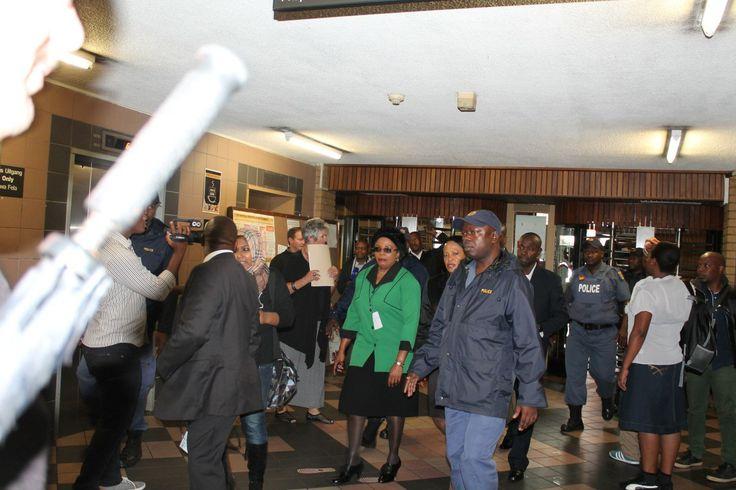 Gauteng Premier Nomvula Mokonyane arrives at the North Gauteng Magistrates court to attend the third day of the Oscar Pistorius murder trial.