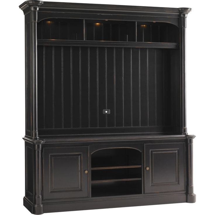 "Share & Save $5 Off Any Order Over $99. (excludes a few products) Breckenridge Silverthorne 74"" TV Stand Entertainment Console & Deck (Hutch) in Weathered Black #dynamichome"