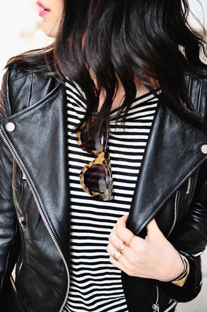 striped shirt, leather jacket, sunglasses