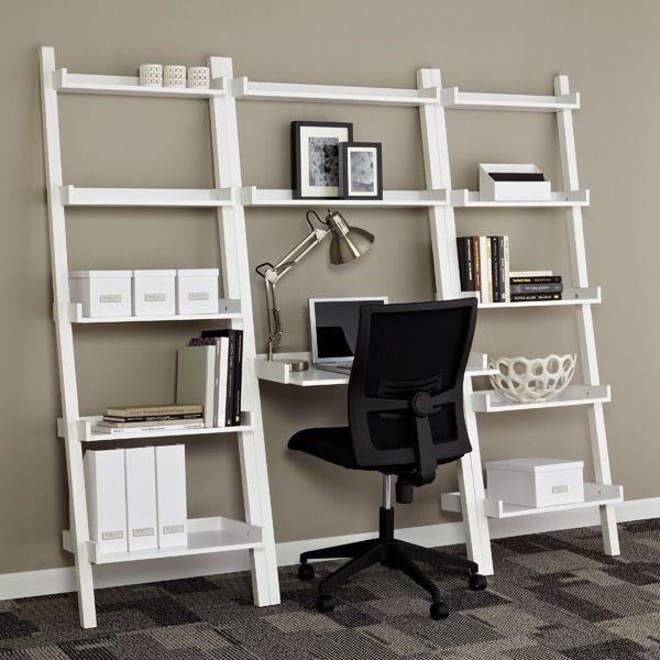 White Linea Leaning Desk