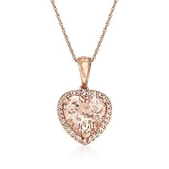3.10 Carat Morganite Heart Necklace With Diamonds in 14kt Rose Gold. >>Click on the Rose Gold necklace to shop similar styles at Ross-Simons.