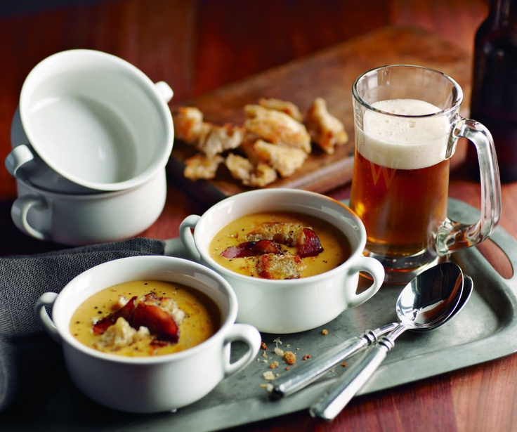 Cheddar Ale Soup - Topped with toasted croutons, crispy bacon and a