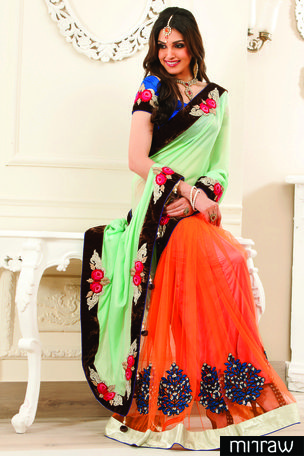 Trendy Orange Georgette & Net combo half & half thread & stone worked saree in pista green pallu & royal blue blouse along with gold & brown saree border to give you a pretty look.