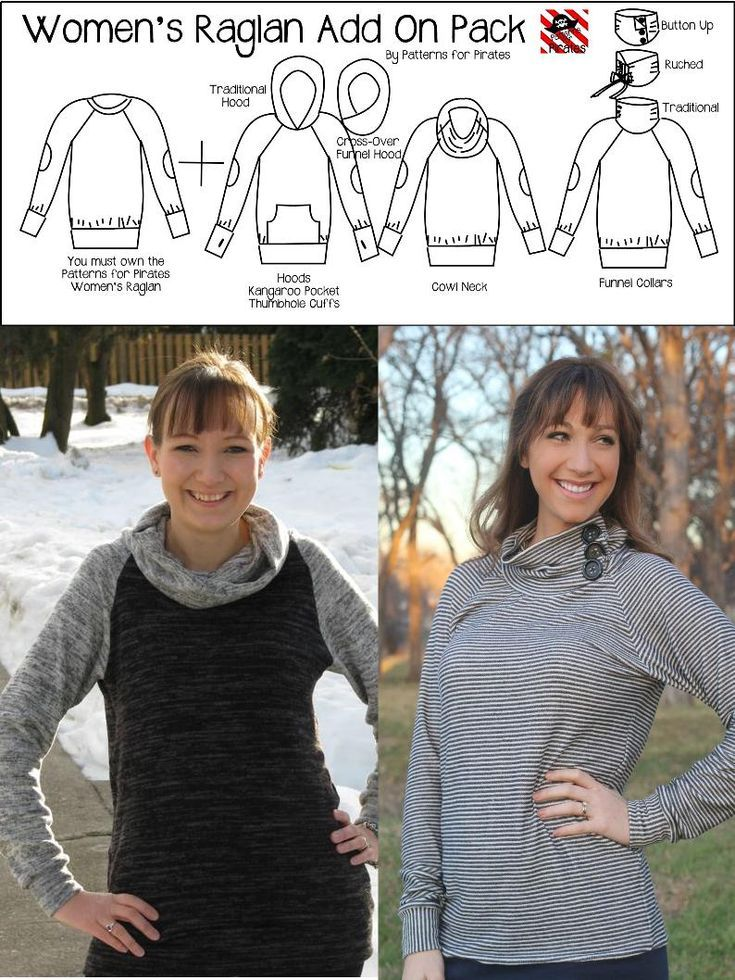 Raglan Add On Pack Patterns For Pirates Hoodie Pattern Trendy