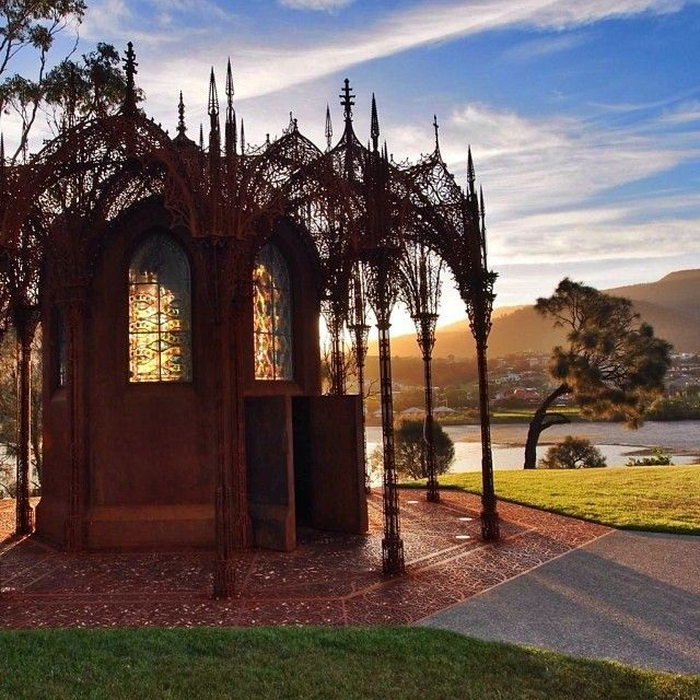 MONA. The Chapel, a whimsical Wim Delvoye creation on the bank of the Derwent River on the museums estate.