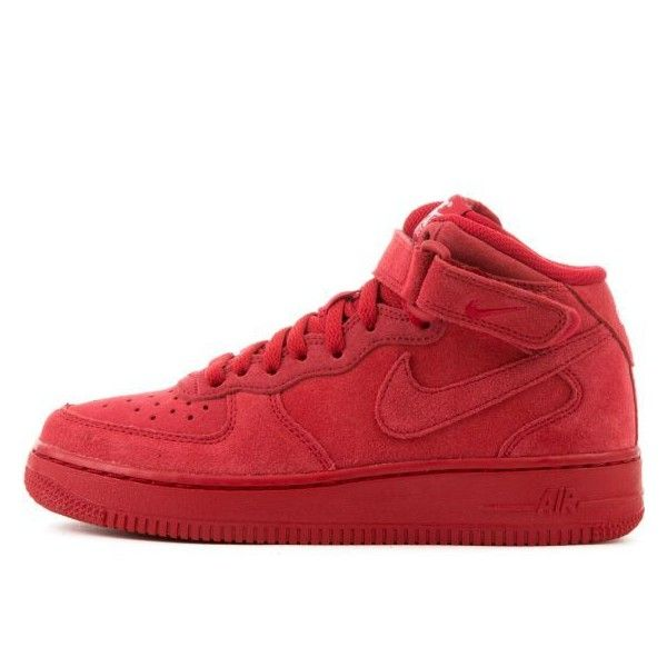 Air Force 1 Mid 06 (GS) Red/White (4.135 RUB) ❤ liked on Polyvore featuring shoes, red shoes, air sole shoes, velcro shoes, white cap and velcro closure shoes