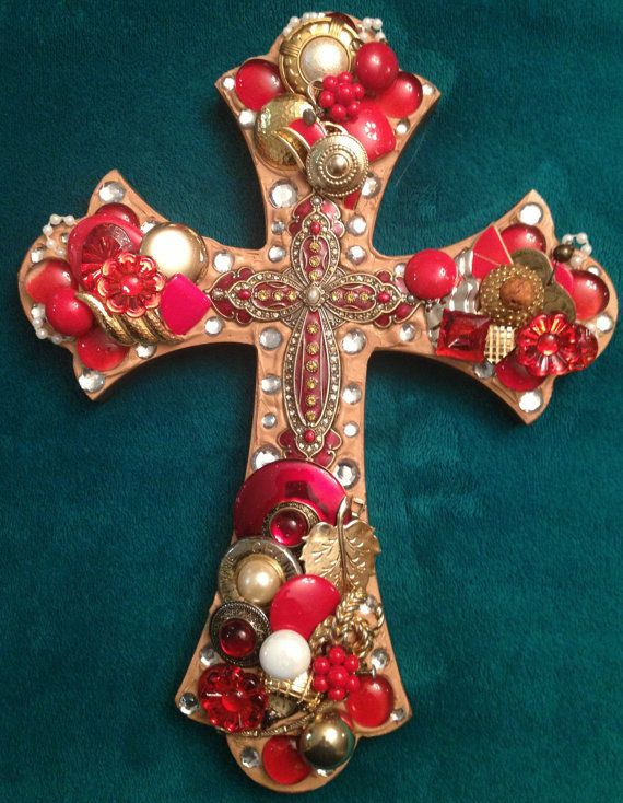 Vintage Jeweled Cross - Red & Gold
