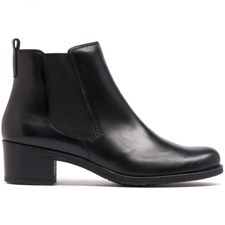 WATERFALL- Stay on trend with these sleek and stylish gusset boots. They feature a comfortable 5cm block heel and pull tag to help you easily slip into them.