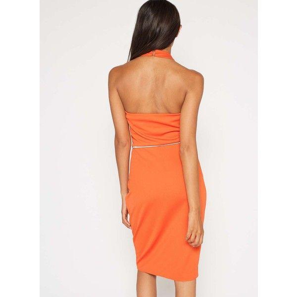 Miss Selfridge Orange Twist Front Wrap Dress (€66) ❤ liked on Polyvore featuring dresses, orange, white dress, night out dresses, white wrap dress, white going out dresses and white party dresses