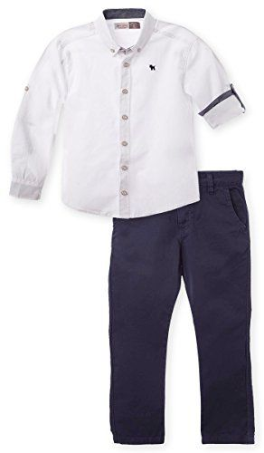 OFFCORSS Matching Brother Siblings Twins Outfits Boys Pants  Long Sleeve Button Shirt BlueWhite Set Conjuntos para Nios Grandes BlancoAzul Size 8 -- You can get more details by clicking on the image.