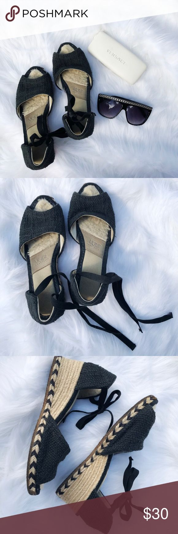 UGG Australia Mar Burlap Espadrille Wedge Sandals Nice looking pair of UGG Mar espadrille style wedge sandals in black textile with leather and genuine sheepskin lined insoles. Ankles tie with black ribbon laces. Gently worn, in great shape. Size 39/Women's 8. UGG Shoes