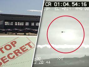 """VIDEO footage showing an unidentifiable object flying above the ground was leaked out of the mysterious Area 51 US Air Force (USAF) base, it has been claimed...... Видеокадры, на которых видно неидентифицируемый объект, летящий над землей.... произошла утечка из загадочной зоны 51 ВВС США (ВВС США).. считают, что это видео было записано в конце восьмидесятых или начале девяностых.  """"НЛО"""", кажется, излучают свет и, кажется, чтобы двигаться из стороны в сторону..."""