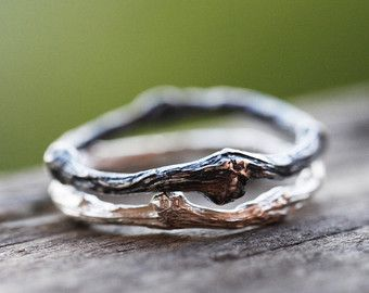 Twig Ring with Herkimer Diamond Sterling by ClaudetteTreasures