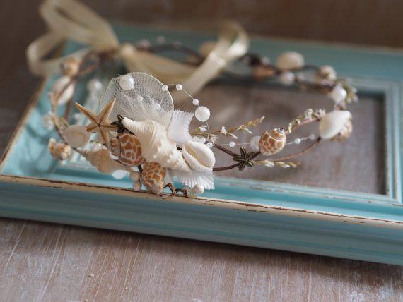Bridal Flower Wreath Beach Wedding Hair by TwoCatsAndAnOwl on Etsy