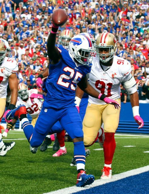 49ers vs. Bills:     October 16, 2016  -  45-16, Bills  -    Buffalo Bills running back LeSean McCoy (25) scores a touchdown in front of San Francisco 49ers defensive end Arik Armstead (91) during the first half of an NFL football game on Sunday, Oct. 16, 2016, in Orchard Park, N.Y.