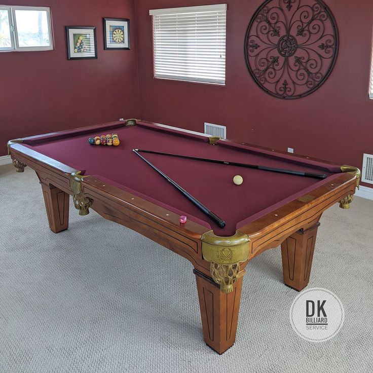 8 foot beach mfg pool table installation and refelt in