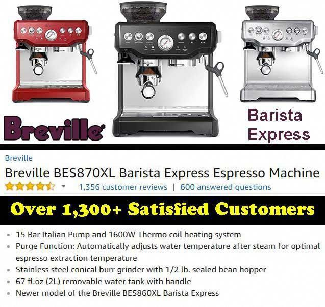 Breville Bes870xl Barista Express Espresso Machine Espresso Machine Espresso Machine Reviews Espresso
