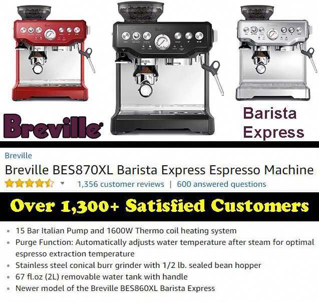 Breville Bes870xl Barista Express Espresso Machine Espresso Machine Espresso Machine Reviews Espresso