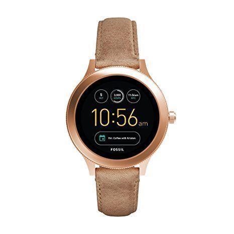 Fossil Damen Smartwatch Q Venture 3. Generation - Leder - Sand / Moderne Smartwatch mit Lederarmband im Vintage Design / Für Android & IOS